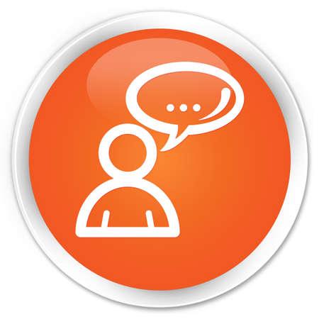Social network icon orange glossy round button Фото со стока