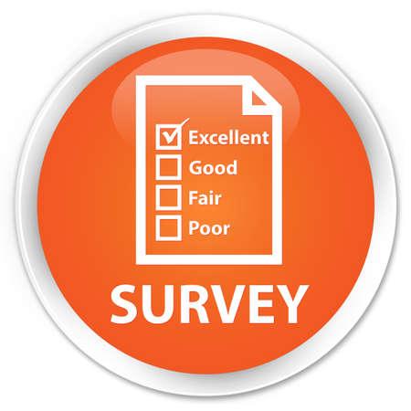 satisfy: Survey orange glossy round button Stock Photo