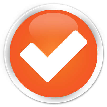 validate: Validate icon orange glossy round button