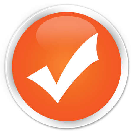 validation: Validation icon orange glossy round button