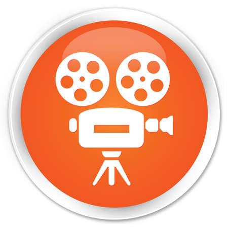 video camera icon: Video camera icon orange glossy round button