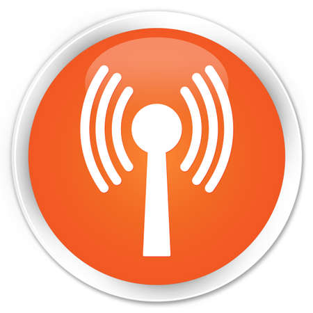 wlan: Wlan network icon orange glossy round button Stock Photo