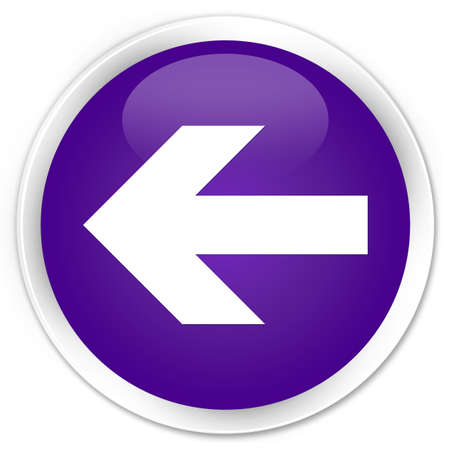 round back: Back arrow icon purple glossy round button Stock Photo