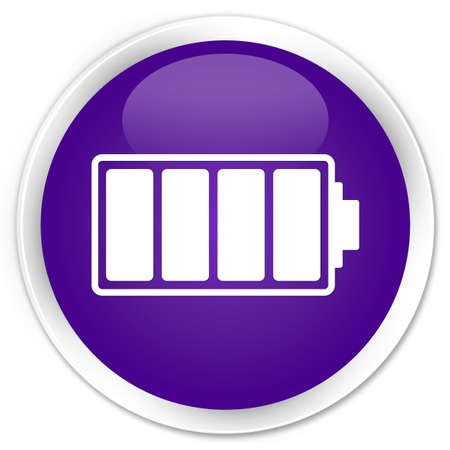 Battery icon purple glossy round button