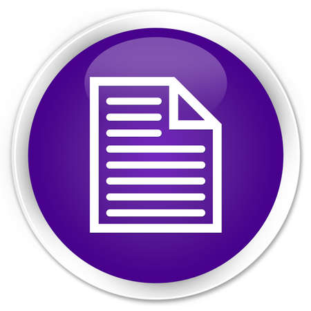 term and conditions: Document page icon purple glossy round button Stock Photo