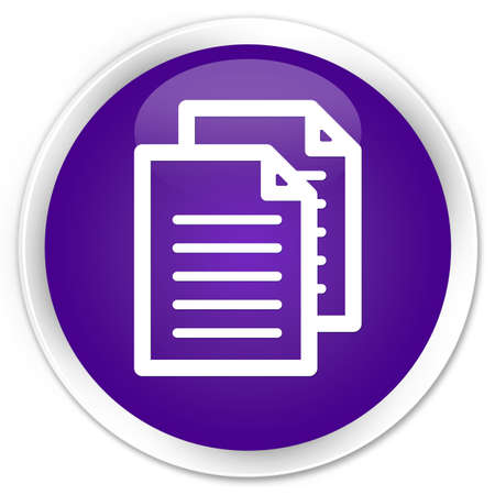 term and conditions: Documents icon purple glossy round button