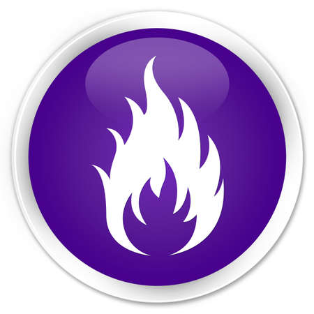 wildfire: Fire icon purple glossy round button Stock Photo