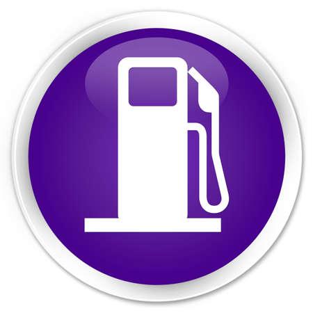 dispenser: Fuel dispenser icon purple glossy round button