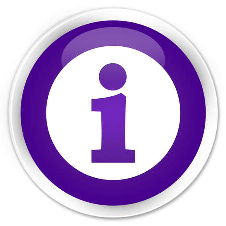 about us: Info icon purple glossy round button