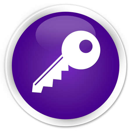 insecure: Key icon purple glossy round button
