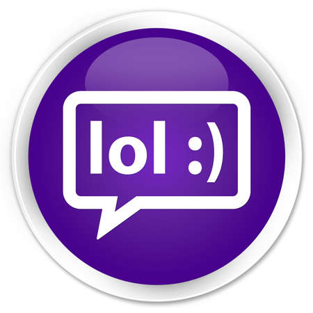 laugh out loud: LOL bubble icon purple glossy round button Stock Photo