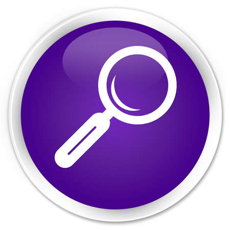 Magnifying glass icon purple glossy round button photo