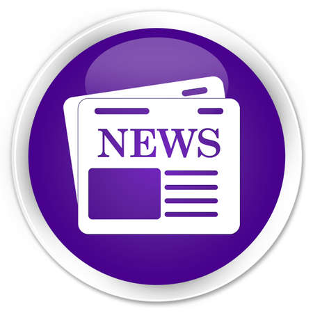 news current events: Newspaper icon purple glossy round button