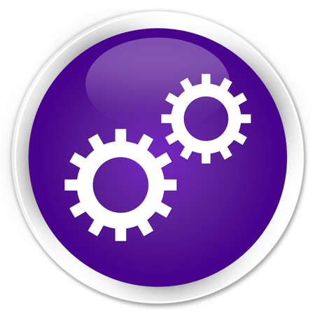 preference: Process gears icon purple glossy round button