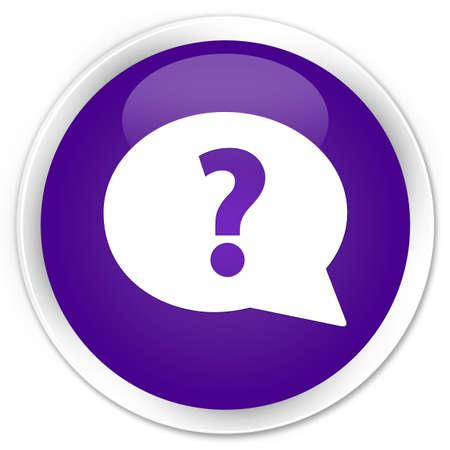 a question mark: Question mark bubble icon purple glossy round button