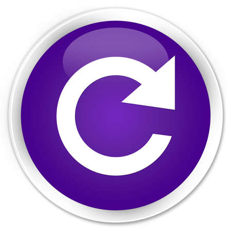 reply: Reply rotate icon purple glossy round button