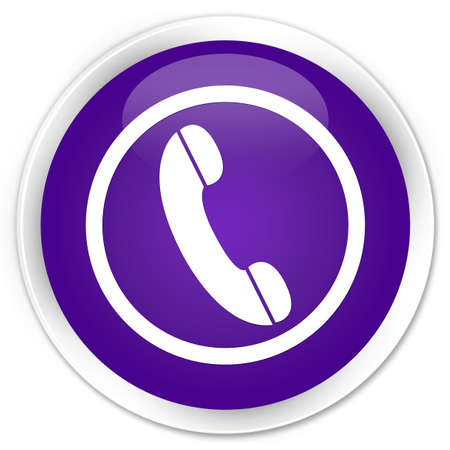 contact person: Phone icon purple glossy round button