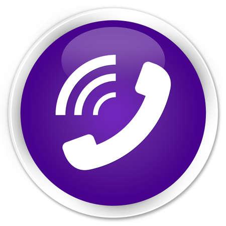 ringing: Phone ringing icon purple glossy round button