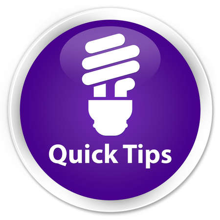 hints: Quick tips (bulb icon) purple glossy round button Stock Photo