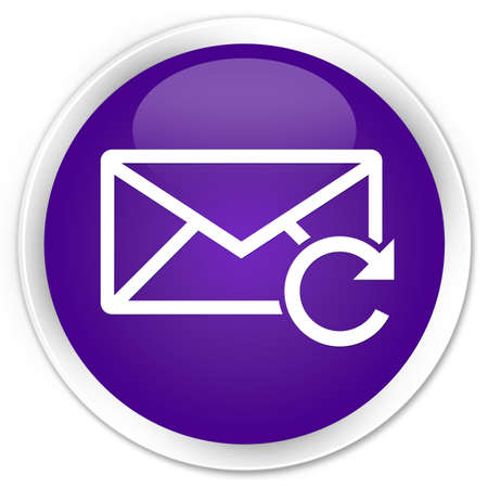 Refresh email icon purple glossy round button photo