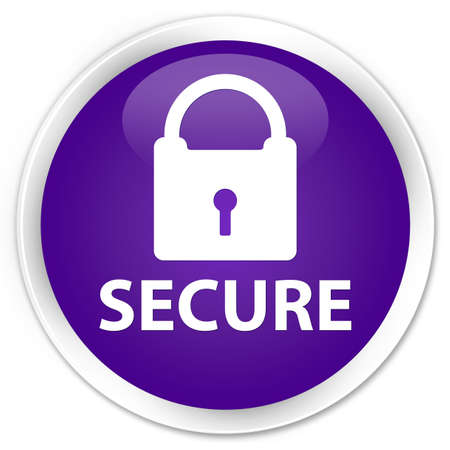 key hole shape: Secure purple glossy round button