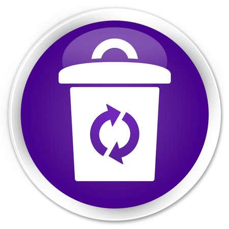 Trash icon purple glossy round button photo