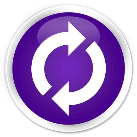 update: Update icon purple glossy round button Stock Photo