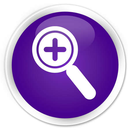 zoom in: Zoom in icon purple glossy round button Stock Photo