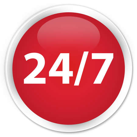 247 icon red glossy round button photo
