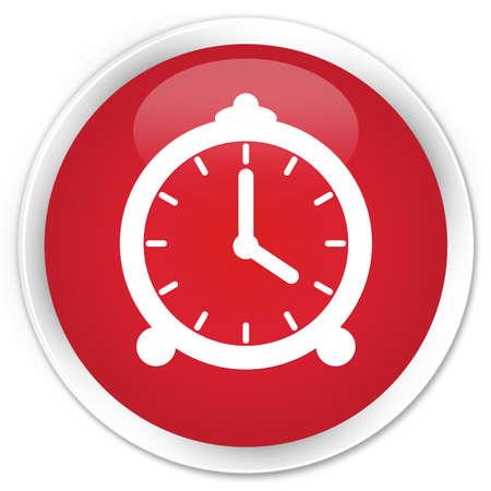 알람 시계 아이콘 붉은 광택 둥근 버튼