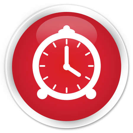 icon red: Alarm clock icon red glossy round button