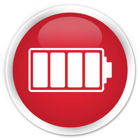 button batteries: Battery icon red glossy round button