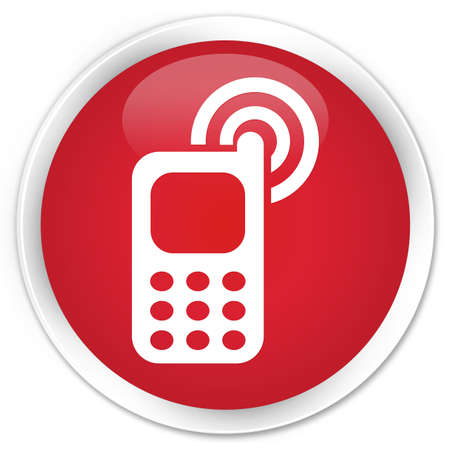 ringing: Cellphone ringing icon red glossy round button