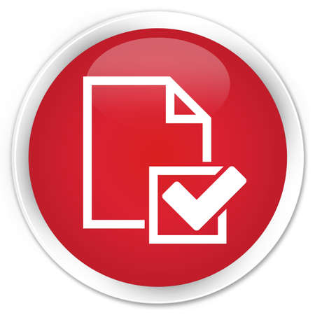 Checklist icon red glossy round button photo