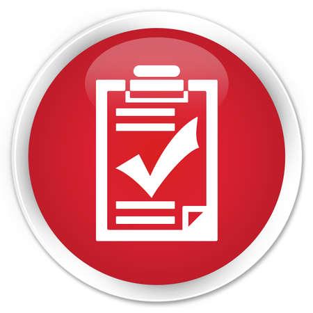 Checklist icon red glossy round button photo
