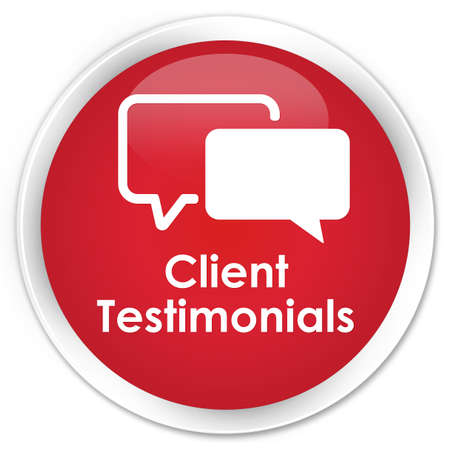 authenticate: Client testimonials red glossy round button Stock Photo