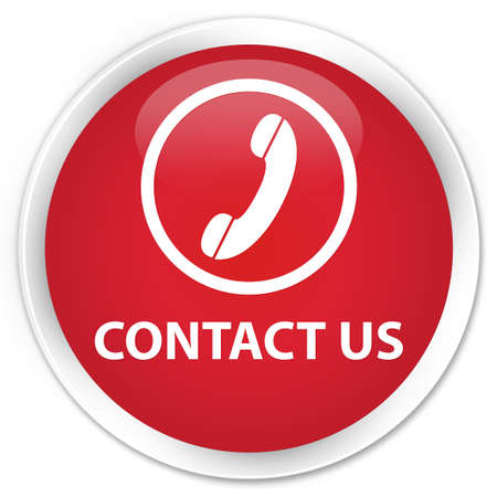 contact us phone: Contact us (phone icon) red glossy round button