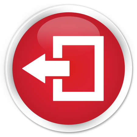 log off: Logout icon red glossy round button Stock Photo