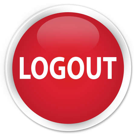 logout: Logout red glossy round button Stock Photo