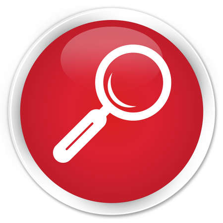 Magnifying glass icon red glossy round button photo