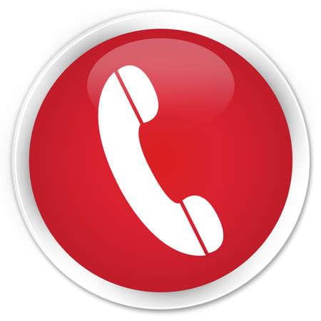 Telefoon pictogram rode knop glanzende ronde