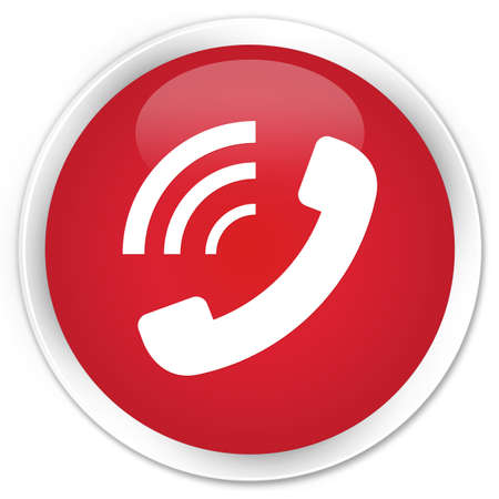ringing: Phone ringing icon red glossy round button