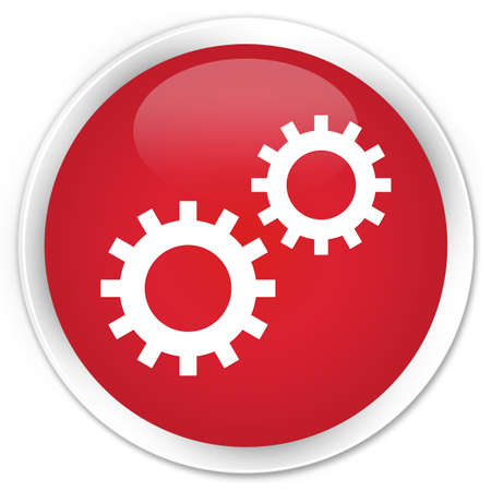 preference: Process gears icon red glossy round button