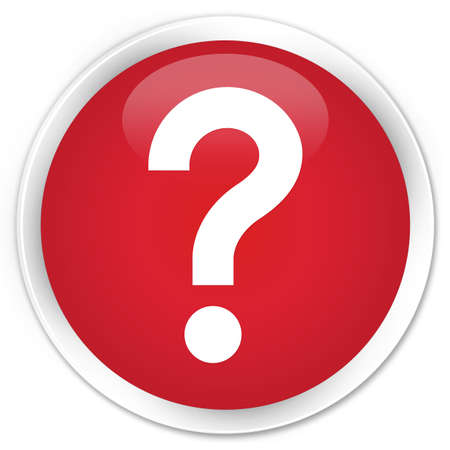 quest: Question mark icon red glossy round button