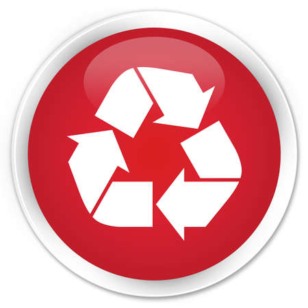 echo: Recycle icon red glossy round button Stock Photo