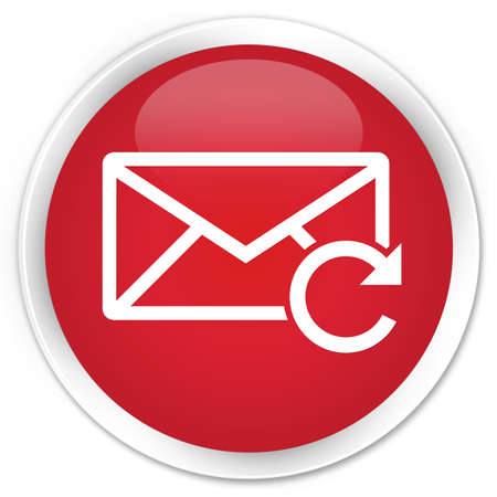 Refresh email icon red glossy round button photo