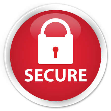 key hole shape: Secure red glossy round button Stock Photo