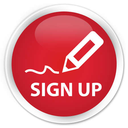 registry: Sign up red glossy round button Stock Photo