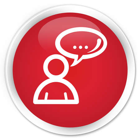 family discussion: Social network icon red glossy round button