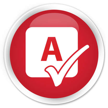 spell: Spell check icon red glossy round button